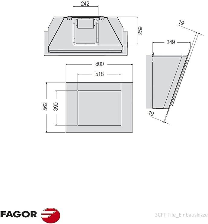 Fagor 3CFT-TILE - Campana (Canalizado, 650 m³/h, Montado en pared, Halógeno, Sensor, Metal): Amazon.es: Hogar