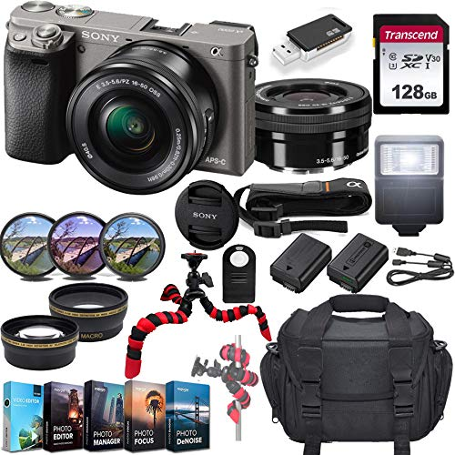 Sony Alpha a6000 Mirrorless Camera w/ 16-50mm Lens & 128GB SD Card Bundle(Graphite)