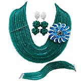 Product review for laanc 10 Rows Fashion Costume African Beads Jewelry Set Nigerian Wedding Bridal Jewelry Sets Women