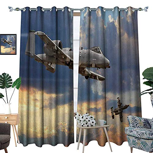 Airplane Waterproof Window Curtain Peacekeepers Mission Jet Up International Military Force Combat Flight Picture Blackout Draperies for Bedroom W120 x L96 Blue Silver