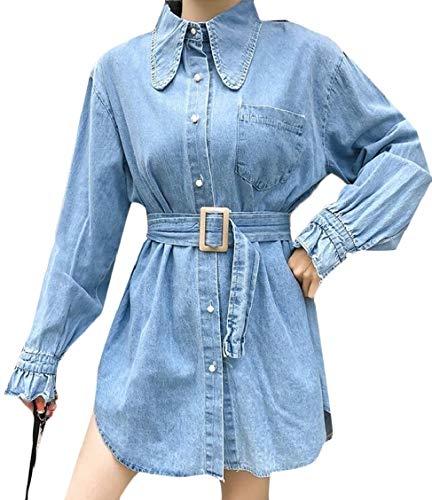 pipigo Women's Casual Button Down Beaded Lapel Belt Jean Denim Jacket Coat Blue One Size