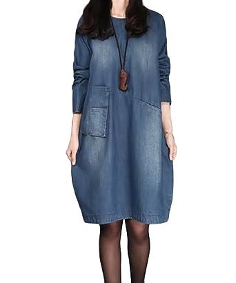 a37ab788816 Winwinus Women s Loose O-Neck Short Sleeve Denim T-Shirt Dress at ...