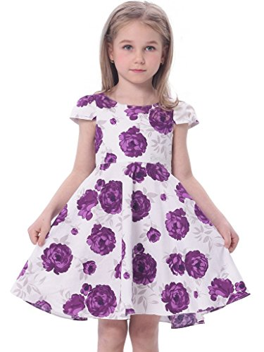 Bonny Billy Big Girl's Cap Sleeve Printed Woven Cotton Swing Skirt Dress 4-5Y Violet
