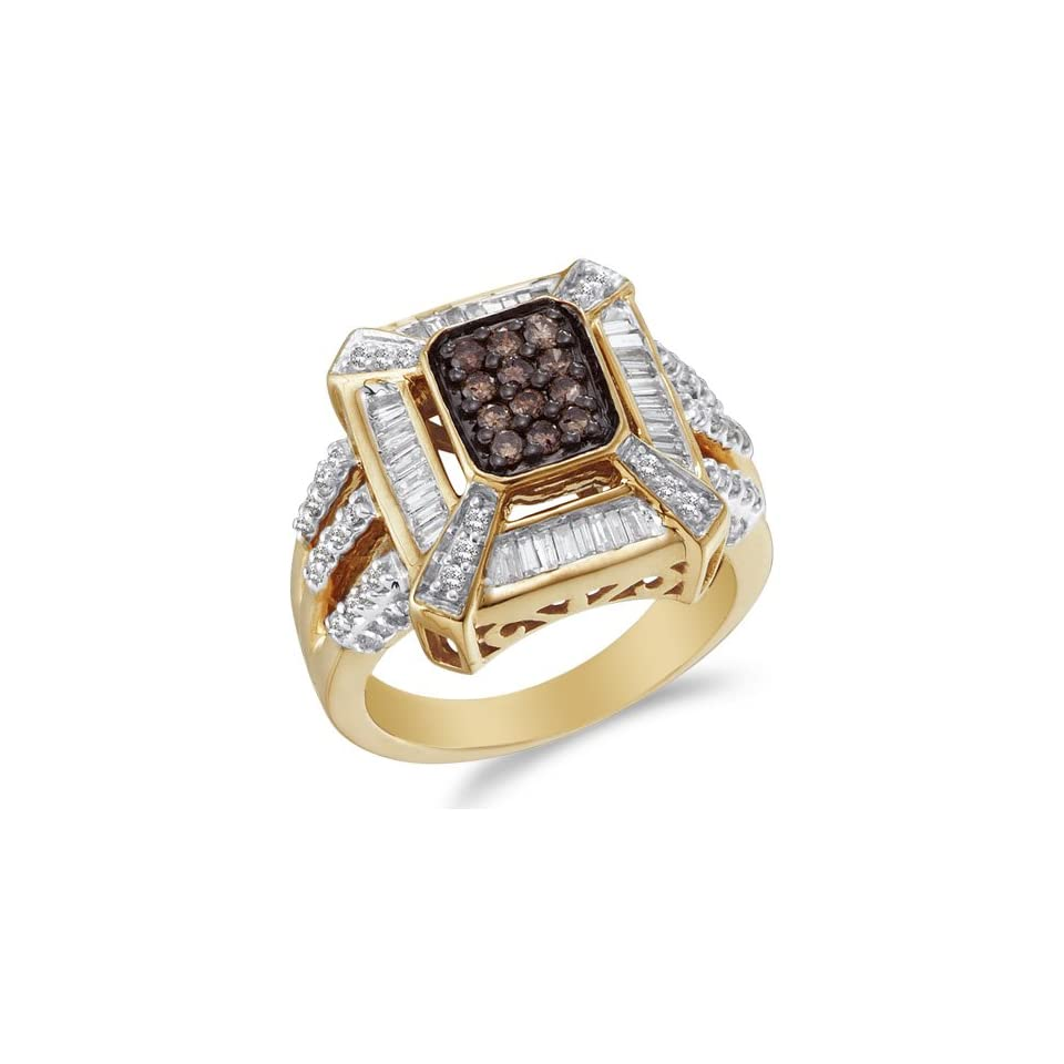 Size 8   14K Yellow and White Two Tone Gold White and Chocolate Brown Diamond Engagement OR Fashion Right Hand Ring Band   Emerald Shape Center Setting w/ Invisible Channel Set Round & Baguette Diamonds   (.88 cttw)