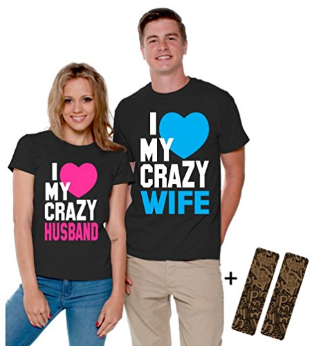 e59c0b5e94 I Love My Crazy Husband and Wife Couple Shirts Valentines Day + 2 Bookmark