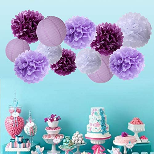 16 Pack Paper Flowers Pom Poms /& Paper Lanterns Decorative Party Pack Tissue Paper Flower Kit for Wall Decor Wedding Decorations/&Birthday Baby Shower Festival Party Decorations White//Lavender//Purple