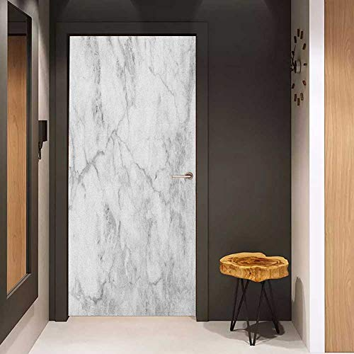 Onefzc Door Sticker Mural Marble Fractured Lines Stained Grunge Surface Effects Ceramic Style Background Artful Motif WallStickers W17.1 x H78.7 Grey Dust