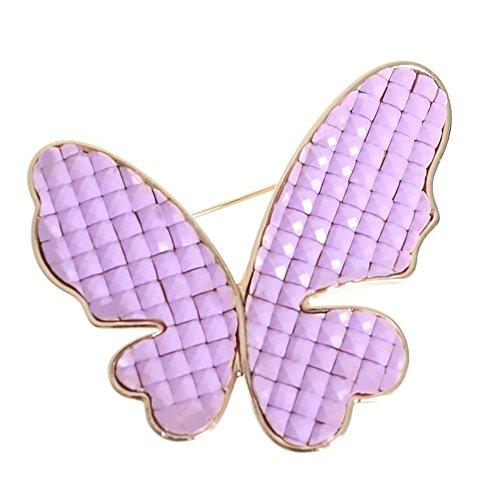 Cute Brooch Purple Violet Relief Butterfly Goldtone Plastic Pin Jewelry (Purple (Plastic Rhinestone Brooch)