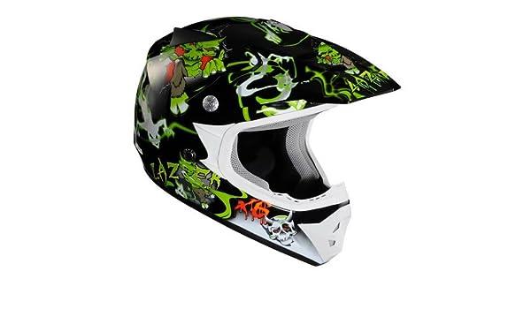 Lazer X6 Junior Casco de Motocross para Niños, Monstro Negro/Verde, XXS: Amazon.es: Coche y moto