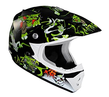 Lazer X6 Junior Casco de Motocross para Niños, Monstro Negro/Verde, XXS