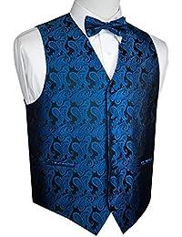 Men's Formal Tuxedo Vest & Bow-Tie Set In Royal Blue Paisley