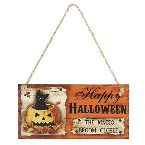 "Happy Halloween Pumpkin Decorative Sign Hanging Wooden Board - Novelty Halloween Theme Carnival Night Party Decorations Supplies - 7.9"" x 4.2"""