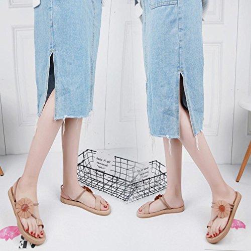 LHWY Sandalen Damen Zehentrenner Frauen Blume Flache Schuhe Elegant Casual Bandagen Böhmen Freizeit Lady Sandalen Flip Flops Schuhe Schwarz Khaki Khaki