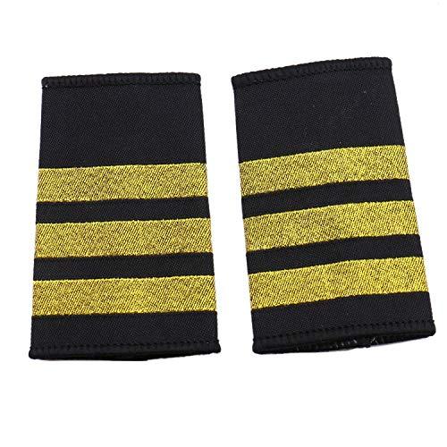 JETEHO 1 Pair Professional Pilot Uniform Epaulets - Three Bars ()