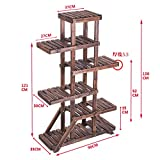 Wood showy Indoor multilayer Balcony flower Solid wood floor racks Living room flowerpot rack-C