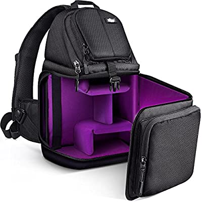 Qipi Camera Bag - Sling Bag Style Camera Case Backpack with Modular Inserts & Waterproof Rain Cover - for DSLR & Mirrorless Cameras (Nikon, Canon, Sony) - Black from Qipi