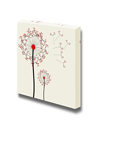 8b50219e18a Amazon.com  Canvas Wall Art - Dandelion in Red and Black