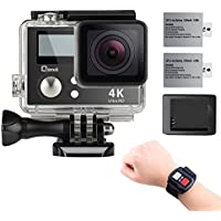 4K Wifi Sports Action Camera,Underwater Camcorder Qipexeii Double Screen Sony Sensor 16MP 100 Feet Waterproof 170° Wide Angle With 2.4G Remote Control,2 Pcs 1050mAh Rechargeable Batteries ( Black)