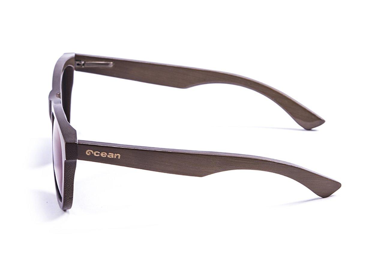 Ocean Sunglasses wood Victoria - lunettes de soleil polarisées en Bambou - Monture : Marron - Verres : Revo Vert (53003.1) VdxMz
