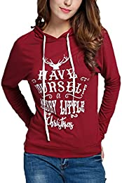 b64391b6d5 Women Casual Hooded Long Sleeve Christmas Letter Print Pullover Hoodies  Blouse Tops
