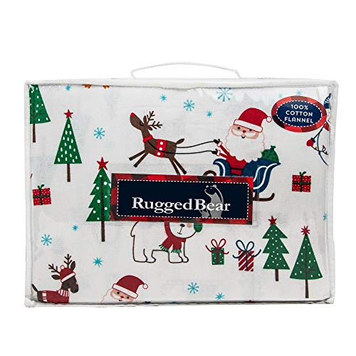 Rugged Bear North Pole Christmas Full/Queen Size Warm Cotton Flannel Sheet Set Christmas Trees Santa Reindeers Dogs Snowman Polar Bears - Holiday Flannel Sheets