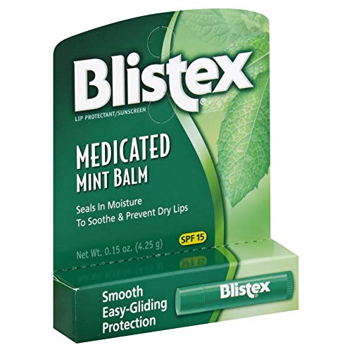 Blistex Medicated Lip Balm, SPF 15, Mint, .15-Ounce Tubes Pack of 24