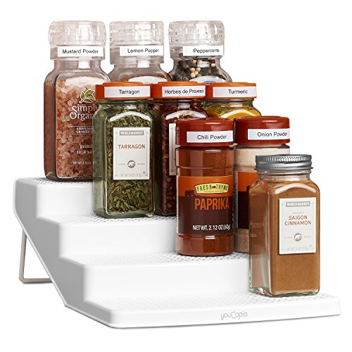 YouCopia SpiceSteps 4-Tier Kitchen Cabinet Spice Shelf Organizer, 12-Bottles, White