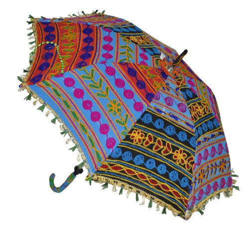Indian Handmade Designer Cotton Fashion Multi Colored Umbrella Embroidery Boho Umbrellas Parasol 5 Pcs Lot by Rajasthali (Image #5)