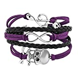 Heart of Charms Iced Out Sideways Infinity Skull Music Note Bracelets Braided Leather Rope Bracelet Wristband (Purple)