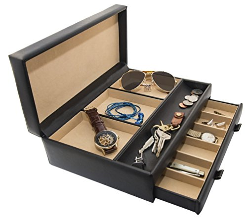 Stock your home luxury men 39 s dresser valet organizer for for Men s jewelry box for watches and cufflinks