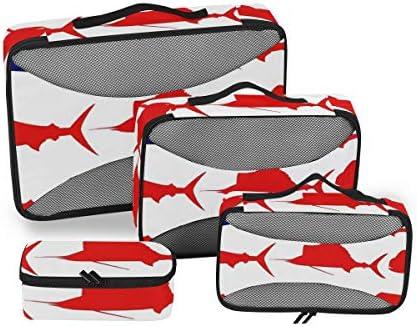 トラベル ポーチ 旅行用 収納ケース 4点セット トラベルポーチセット アレンジケース スーツケース整理 ドルフィン 米国旗 収納ポーチ 大容量 軽量 衣類 トイレタリーバッグ インナーバッグ