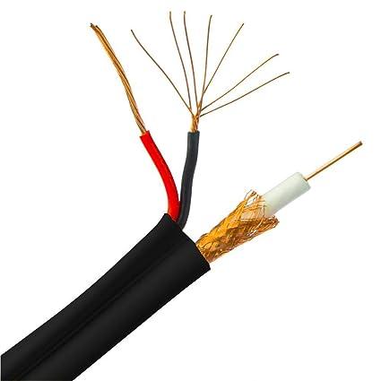 GOWOS Bulk RG6 Siamese Cable coaxial/de alimentación, Negro ...