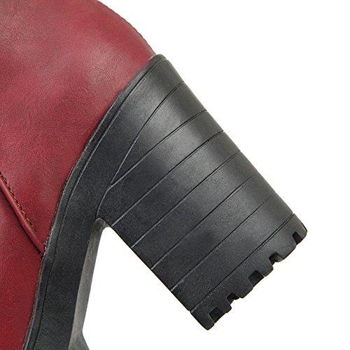 Damen Claret Plateau Lederstiefel Chunky A N Heels Schnalle Imitierte 8qTI5Tw