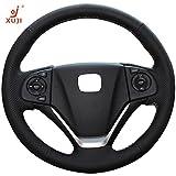 xuji steering wheel cover - XuJi Honda CRV Steering Wheel Cover Wrap Hand Sewing Black Microfiber Leather for Honda CR-V 2012 /CR-V 2013 /CR-V 2014 /CR-V 2015