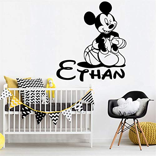 Oisiu Mickey Mouse Wall Sticker Decal Mickey Mouse Basketball Wall Decal Custom Name Boy Name Mural Cute Childrens Nursery Room Vinyl