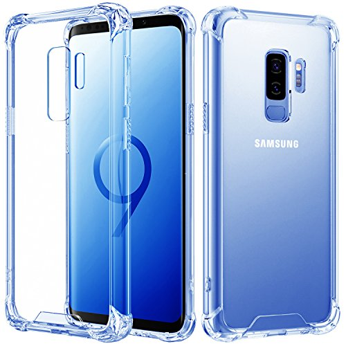 MoKo Samsung Galaxy S9 Plus Case, Crystal Clear Reinforced Corners TPU Bumper + Anti-Scratch Hybrid Rugged Transparent Panel Compatible with Samsung Galaxy S9+ 6.2 Inch 2018 - Clear Blue & Clear