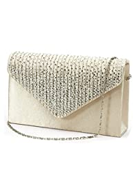 U-Story Women's Rhinestone Satin Frosted Evening Wedding Clutch Bag Handbag Purse (Champagne)
