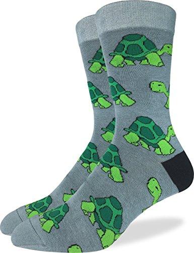 Good Turtle Luck (Good Luck Sock Men's Turtle Crew Socks - Green, Shoe Size 7-12)