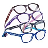 Cute Stylish Rhinestone Reading Glasses for Women, 4 ct, Multicolored, 3