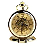 Orkina Vintage Gold Color Hand-Wind Mechanical Skeleton Dial Chain Pocket Watch