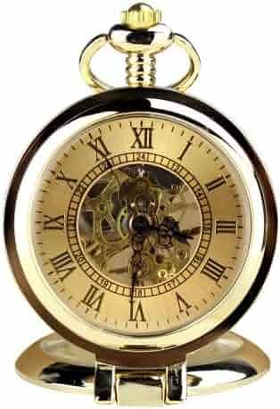 Orkina Vintage Gold Color Hand-Wind Mechanical Skeleton Dial Chain Pocket Watch