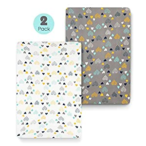 COSMOPLUS Stretch Fitted Pack n Play Playard Sheets – 2 Pack for Mini Crib Sheet Set,Pack n Play Mattress Cover, Ultra Stretchy Soft,Heart Pattern