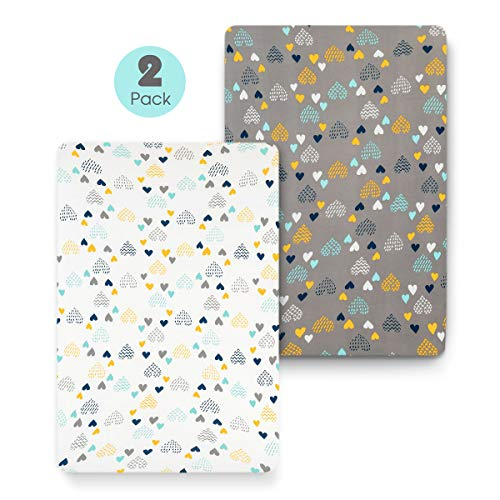 - COSMOPLUS Stretch Fitted Pack n Play Playard Sheets - 2 Pack for Mini Crib Sheet Set,Pack n Play Mattress Cover, Ultra Stretchy Soft,Heart Pattern