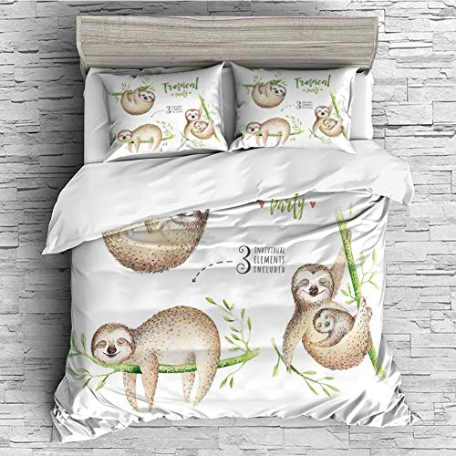iPrint All Season Flannel Bedding Duvet Covers Sets for Girl Boy Kids 4 Pcs (Double Size) Sloth,Cute Babies in Tropical Nature Theme Exotic Palm Tree Leaves Nursery Aloha Decorative,Light Brown Green (Gta Stores Furniture)