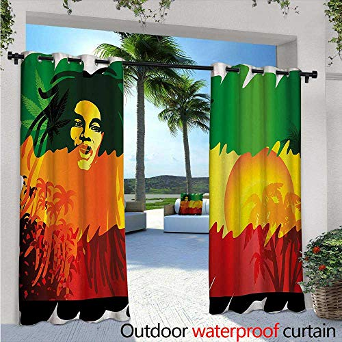 Rasta Single (BlountDecor Rasta Indoor/Outdoor Single Panel Print Window Curtain W72 x L108 Iconic Reggae Music Singer Abstract Design with Sun and Palm Trees Silver Grommet Top Drape Green Yellow Red and Orange)