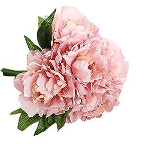Magnolia Floral Bouquet,Han Shi Modern Artificial Fake Flowers Leaf Wedding Party Decor (S, Pink) 101