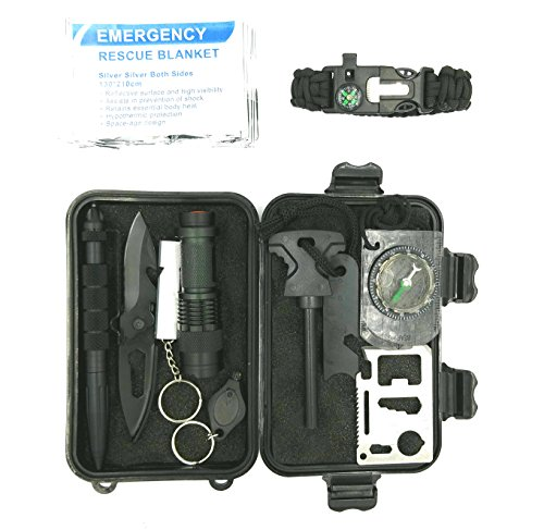 11-in-1 Emergency Survival Kit for Camping, Hiking, Hunting, Travel and Earthquakes. Includes Paracord Bracelet, Emergency Rescue Blanket, Compass, LED Flashlight, High Frequency Whistle and More