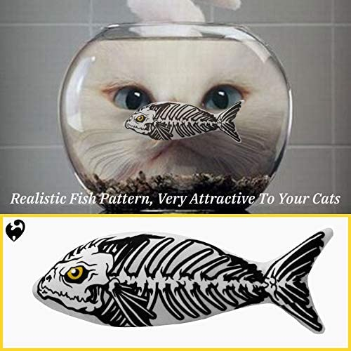 Ospetty Halloween Catnip Moving Fish Cat Toy Electric Dancing Fish Catnip Kicker Interactive Realistic Floppy Fish Toy Lifetime Replacement Guarantee 23