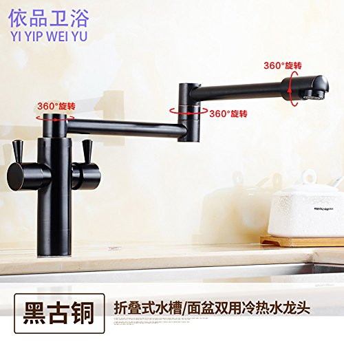 Black Bronze Single Lever Pull Down Kitchen Sink Faucet BrassBlack Bronze Folding Kitchen hot and Cold Water Faucet Brushed Electroplating redary Sink Sink Faucet Stretch Telescopic,Stainless Steel Wire Drawing