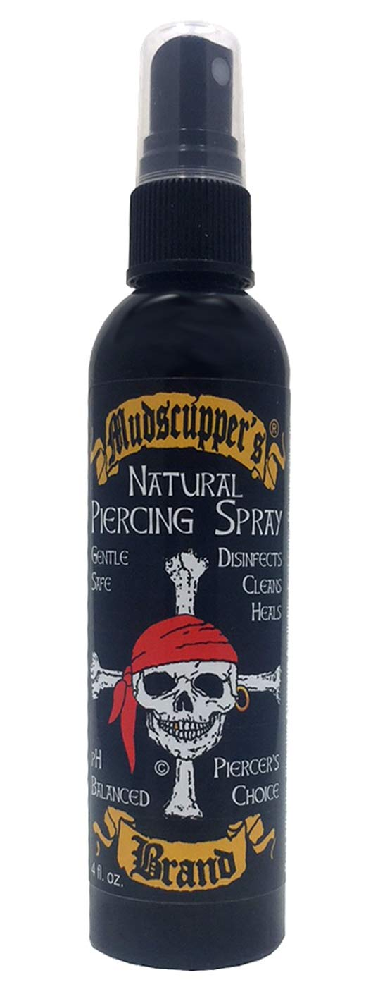 Mudscupper's Natural Piercing Spray: Sterilized Sea Salt Solution Gently Cleanses & Helps Heal All Piercings. 4 fl oz